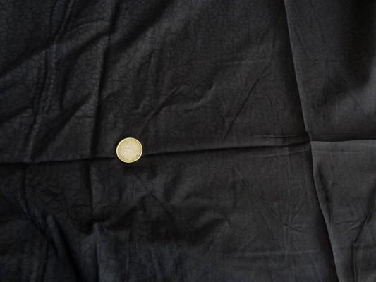 Voile coton noir imprimé fleurs anthracite 01