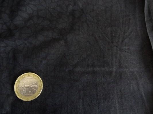 Voile coton noir imprimé fleurs anthracite 02