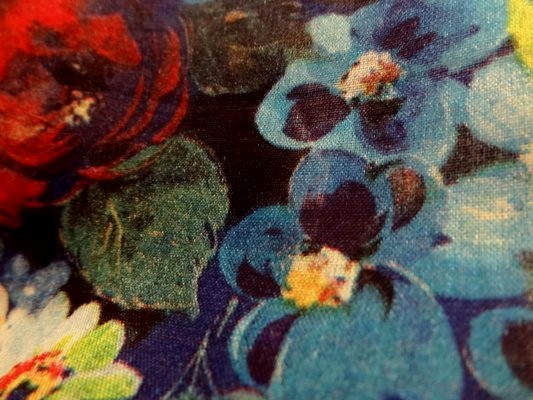 Voile de coton roses de jardin tons bleus 2