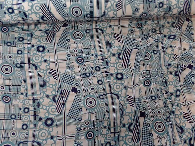 Voile de soie imprime retro ton blanc et bleu