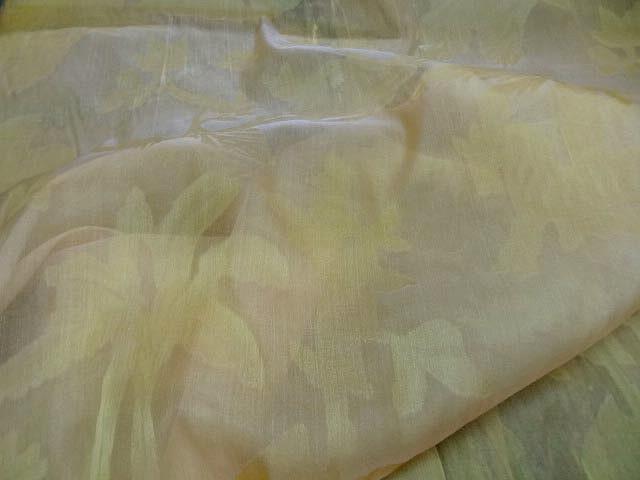 Voile de soie palmiers jaune pale 1