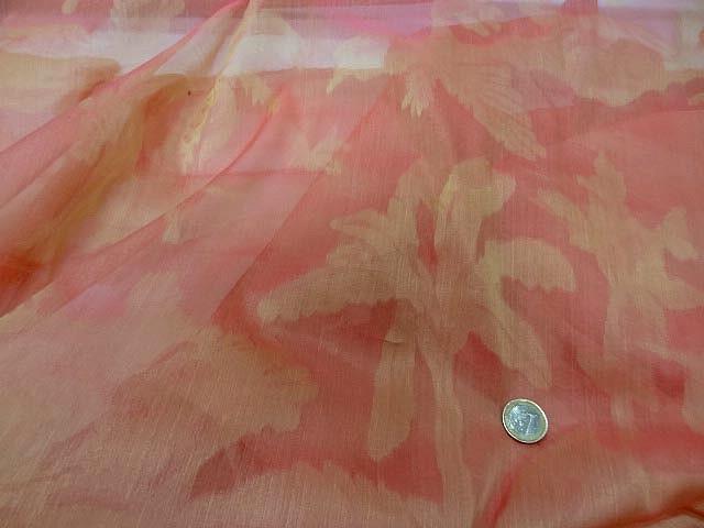 organza de soie palmiers saumon 1 2