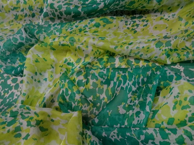 Voile de soie tachetee vert et vert anis 2
