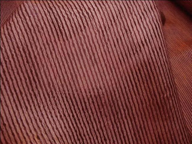 Voile faconne raye de fils cotonneux brique 2