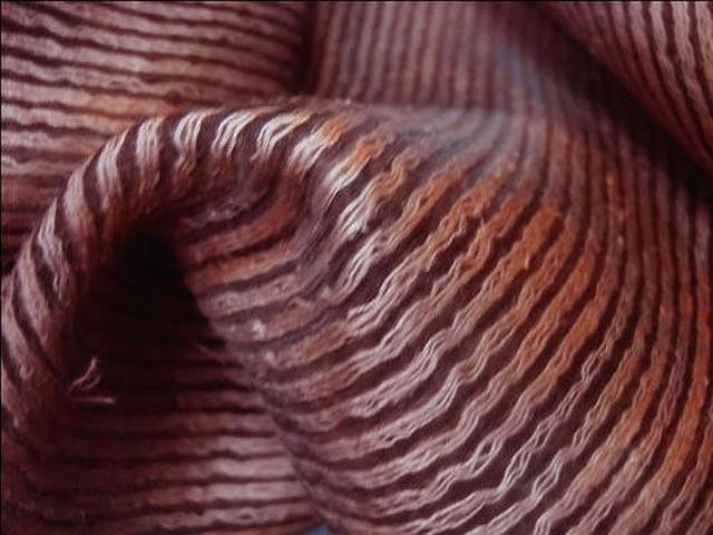 Voile faconne raye de fils cotonneux brique 3