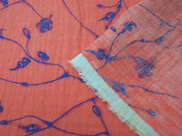 Voile organza superpose coton saumon motif bleu lumineux 2