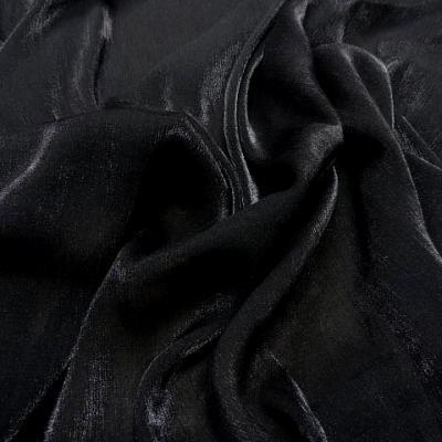Voile polyester noir plisse a reflets 1